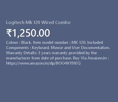 Logitech Mk120 Wired Combo Product Image